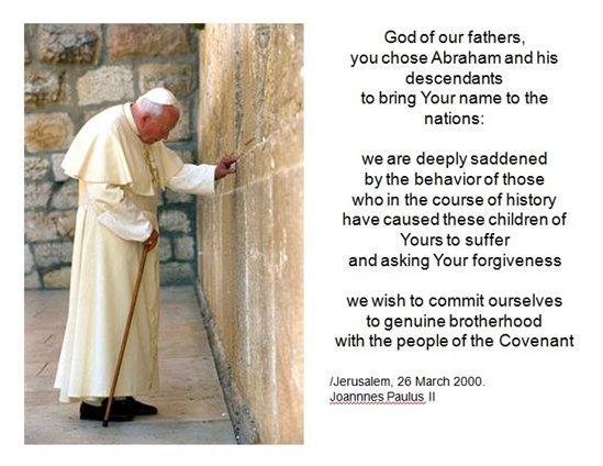 Johannes Paulus II vid klagomuren i Jerusalem år 2000