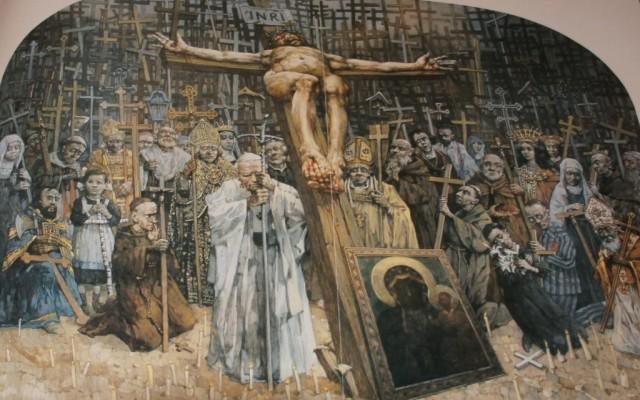 Från Golgata Jasna Gora. Från en serie målningar för korsvägens 14 stationer av Jerzy Duda Gracz.  Finns i Jasna-Gora klostret i Czestochowa