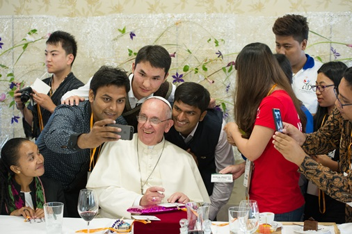 A selfie after youth luncheon at the major seminary in Daejeon, South Korea, Aug. 15. (CNS/L'Osservatore Romano, pool)