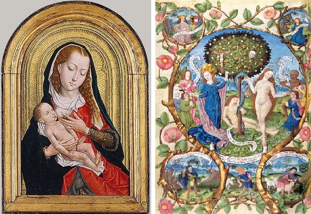 T.v. ammande Maria, Brygge, sent 1400-tal. T.h. Dödens och livets träd. Framställer Maria som den nya Eva. Från ett missale från Salzburg, 1400-tal.